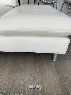 White Leather Corner Sofa/ Bed &Footstool RRP 6000- No Time Wasters