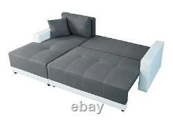 X-Large Sofa bed Luxury Faux Leather & Fabric Storage Sofa bed Corner Sofa