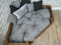 XL Personalised Rustic Wooden Corner Dog Bed In Grey Fabric Design
