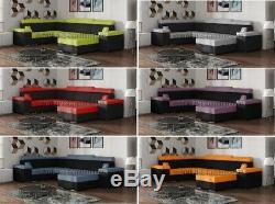 XXL- Corner Sofa Bed SARAH U shape fabric OR faux leather (BONELL)